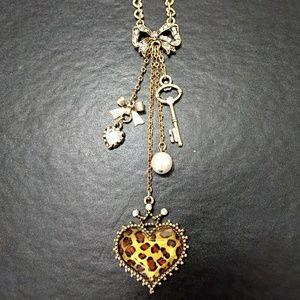 Betsey Johnson cheetah heart pendant necklace